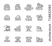 Natural Disaster, Vector illustration of thin line icons for Natural Disaster Contains such Icons as earth quake, flood, tsunami and other | Shutterstock vector #718832083