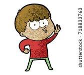 cartoon curious boy   Shutterstock .eps vector #718833763