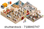Cafe, family restaurant interior concept, vector illustration in flat isometric design. People sit at the table and eating. | Shutterstock vector #718840747