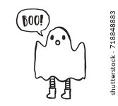 cute hand drawn funny ghost.... | Shutterstock .eps vector #718848883