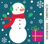 cute snowman and christmas gifts | Shutterstock .eps vector #718854673