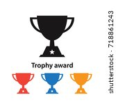 champions trophy icon vector... | Shutterstock .eps vector #718861243