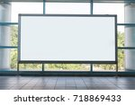 large blank billboard on a... | Shutterstock . vector #718869433