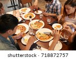 group of vietnamese friends... | Shutterstock . vector #718872757