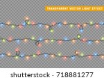 christmas lights isolated... | Shutterstock .eps vector #718881277