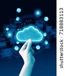 hand holding cloud | Shutterstock . vector #718883113