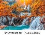 te lor su waterfall in... | Shutterstock . vector #718883587