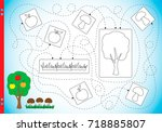 educational puzzle game and... | Shutterstock .eps vector #718885807