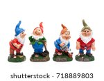 four garden gnomes isolated on... | Shutterstock . vector #718889803