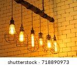 antique light bulb style  retro ... | Shutterstock . vector #718890973