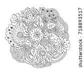 monochrome hand drawn doodle...   Shutterstock .eps vector #718893517