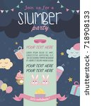 slumber party invitation card.... | Shutterstock .eps vector #718908133