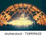 defocused entertainment concert ... | Shutterstock . vector #718909633