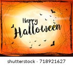 scary halloween background with ... | Shutterstock .eps vector #718921627