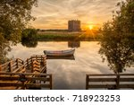 sunset at threave castle on and ... | Shutterstock . vector #718923253