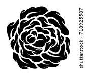 flower rose  black and white.... | Shutterstock .eps vector #718925587