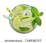 glass of mojito cocktail or... | Shutterstock . vector #718938757