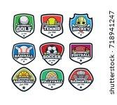 9 sport simple logo team vector | Shutterstock .eps vector #718941247