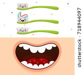 cartoon mouth and cute... | Shutterstock .eps vector #718944097