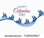 happy columbus day  the...   Shutterstock .eps vector #718944967