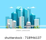 urban landscape with... | Shutterstock .eps vector #718946137