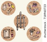 set of objects with doodles... | Shutterstock .eps vector #718960723