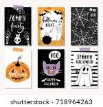 halloween cards  poster  banner ... | Shutterstock .eps vector #718964263
