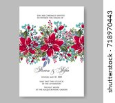 poinsettia wedding invitation....   Shutterstock .eps vector #718970443