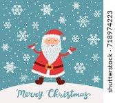 merry christmas. santa claus in ...   Shutterstock .eps vector #718974223