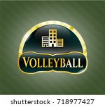 golden emblem with buildings... | Shutterstock .eps vector #718977427