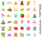 kid icons set. cartoon style of ... | Shutterstock .eps vector #718978063