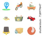 parking area icons set. cartoon ... | Shutterstock .eps vector #718979647
