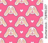 happy valentine's day. pink... | Shutterstock .eps vector #718981207