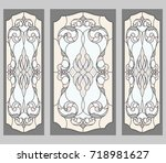 classic stained glass doors... | Shutterstock .eps vector #718981627