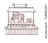 street food store with seller.... | Shutterstock .eps vector #718982287