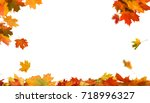 autumn falling maple leaves... | Shutterstock . vector #718996327