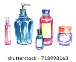 watercolor cosmetic products. | Shutterstock . vector #718998163