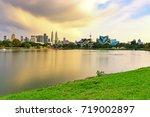 dramatic storm sunset over...   Shutterstock . vector #719002897