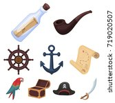 pirates set icons in cartoon... | Shutterstock . vector #719020507