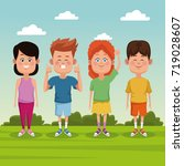 kids at park | Shutterstock .eps vector #719028607