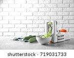 spiral vegetable slicer with... | Shutterstock . vector #719031733