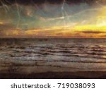 painted on canvas hand drawn... | Shutterstock . vector #719038093