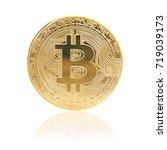 golden bitcoin with reflection...   Shutterstock . vector #719039173