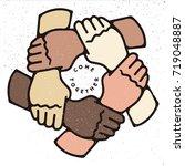 creative ring of hands teamwork ... | Shutterstock .eps vector #719048887
