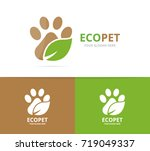 vector paw and leaf logo... | Shutterstock .eps vector #719049337