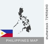 philippines map and flag | Shutterstock .eps vector #719056543