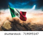 mexican flag standing with... | Shutterstock . vector #719095147