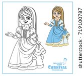 cute girl in princess costume... | Shutterstock .eps vector #719100787