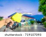 fuel nozzle  yellow fuel...   Shutterstock . vector #719107093
