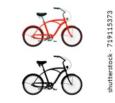 cruiser bicycle in color.... | Shutterstock .eps vector #719115373